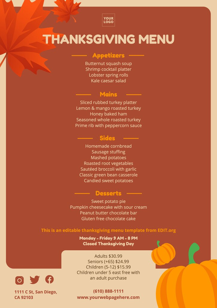 Free Thanksgiving list of food template