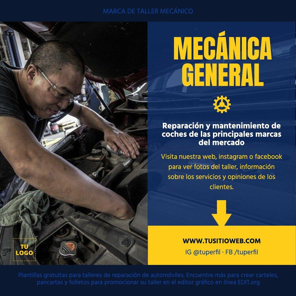 Banner editable online para talleres mecánicos de automóviles
