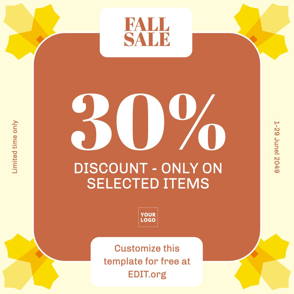 Fall sale online editable template for free