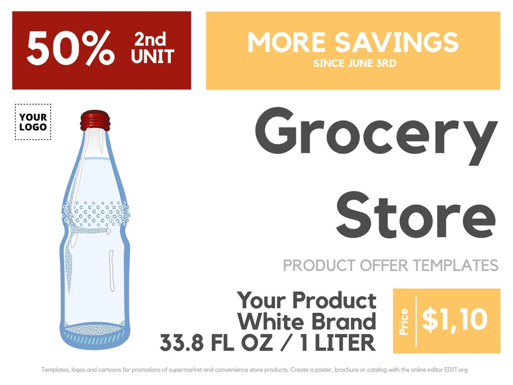 Online editable templates for grocery stores and supermarkets