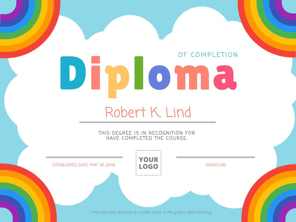 Editable template diploma for kids