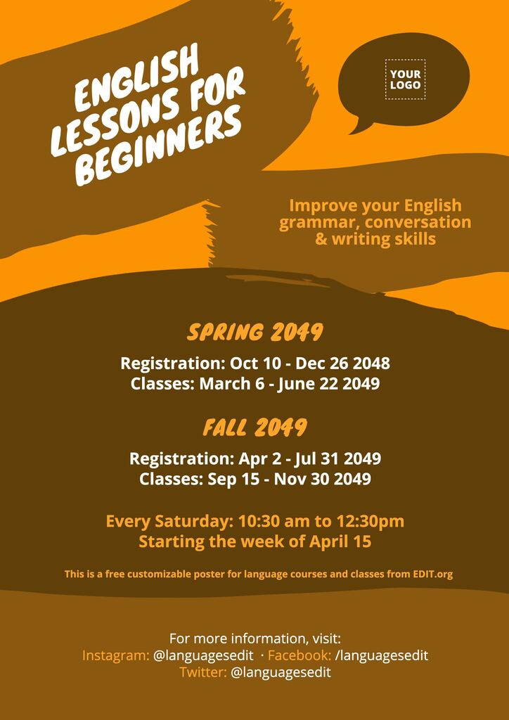 Customizable English classes posters and promotional flyers