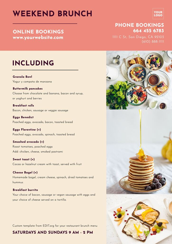 Free breakfast menu templates for restaurants and cafes