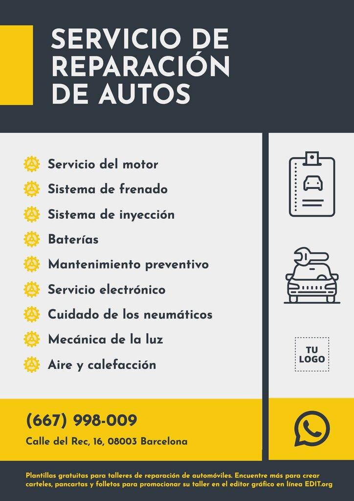 Cartel editable online para promocionar servicios de reparación de tu taller de mecánica general