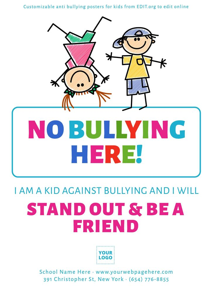 Free no bullying posters for kindergarten