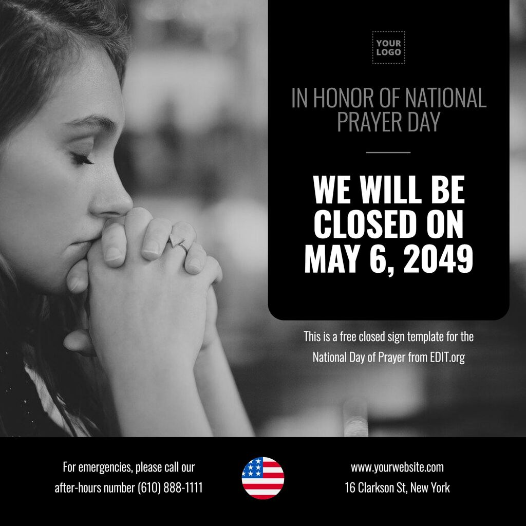 USA National Day of Prayer template to customize