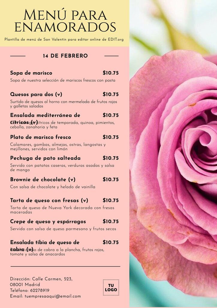 Diseño de carta de restaurante de San Valentín imprimible