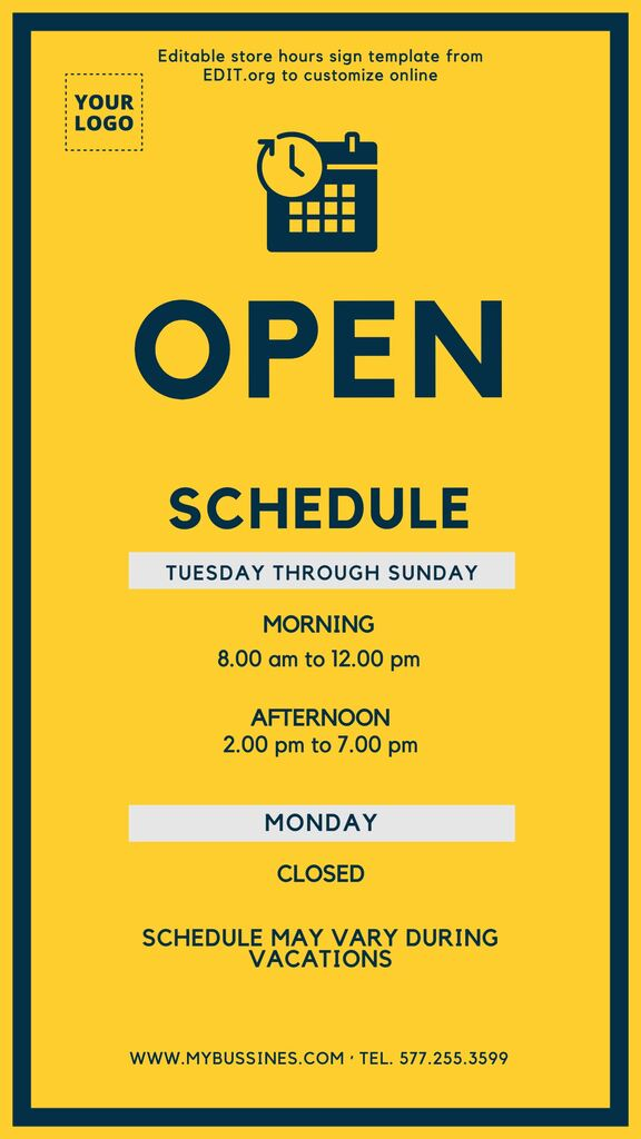 New store hours sign to customize online for free
