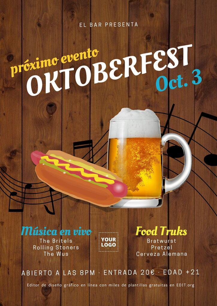 Cartel y flyer editable Oktoberfest para menu e invitaciones gratis