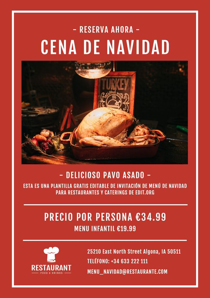 Plantilla Menú Navidad editable para imprimir gratis