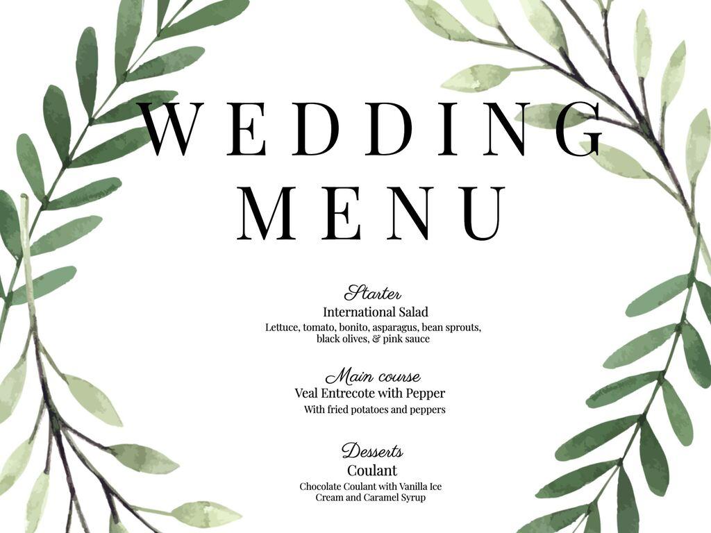 Wedding Menu Templates And Cards