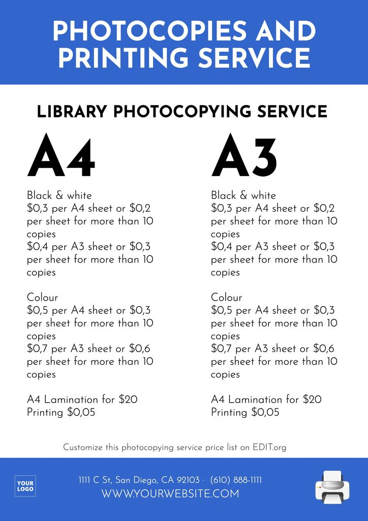 Customizable templates for color copying services