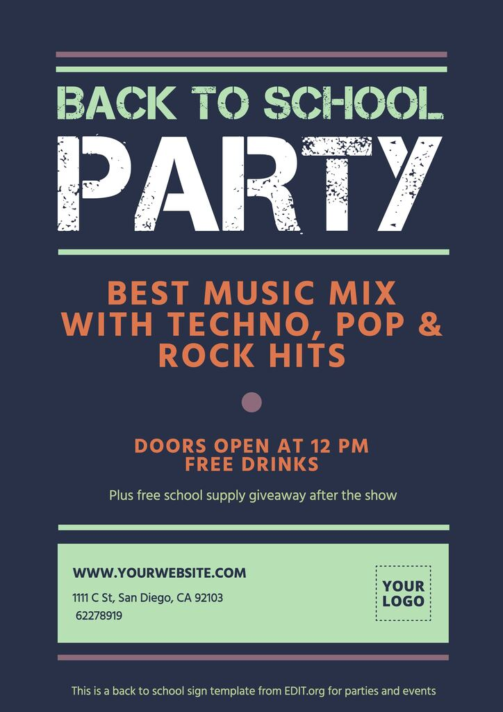 Editable poster for back to school parties and events