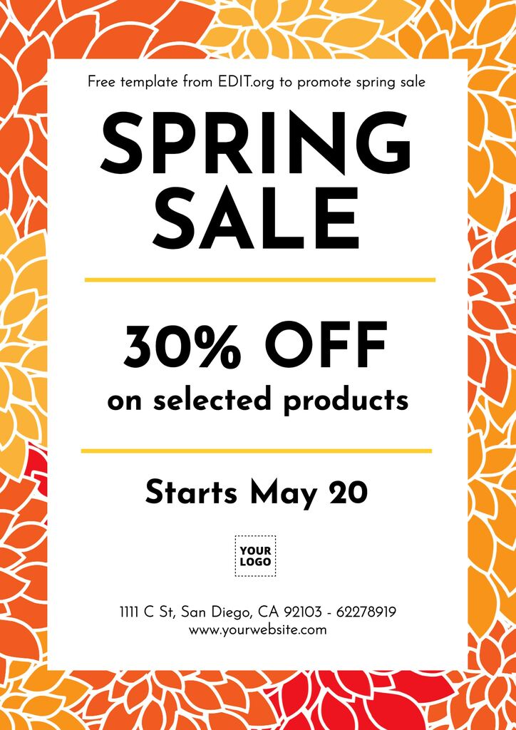 Printable spring season sale templates to customize online for your business