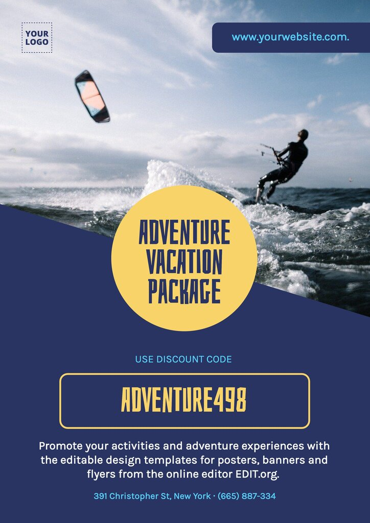 Editable poster to customize online and promote adventure experiences
