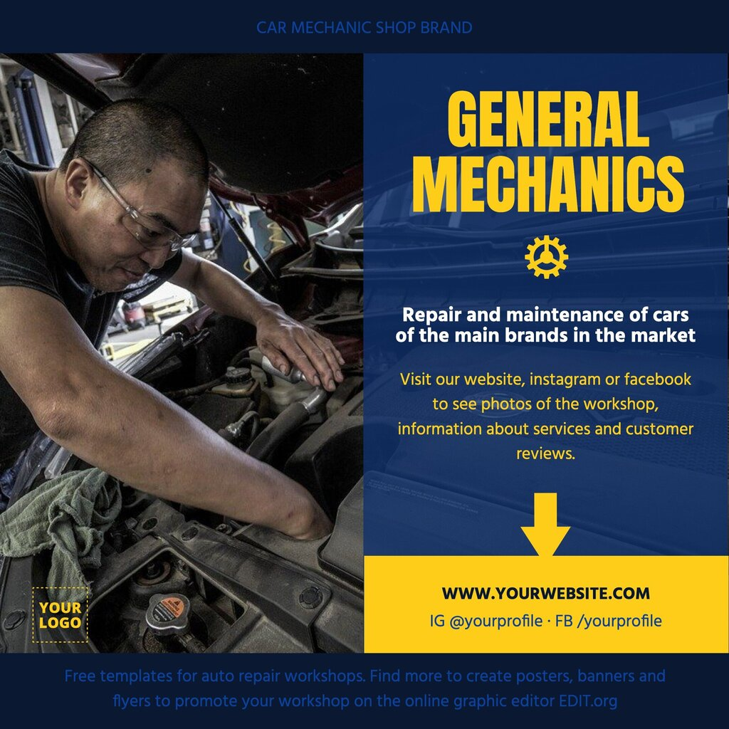 Editable poster template to promote your mechanical workshop