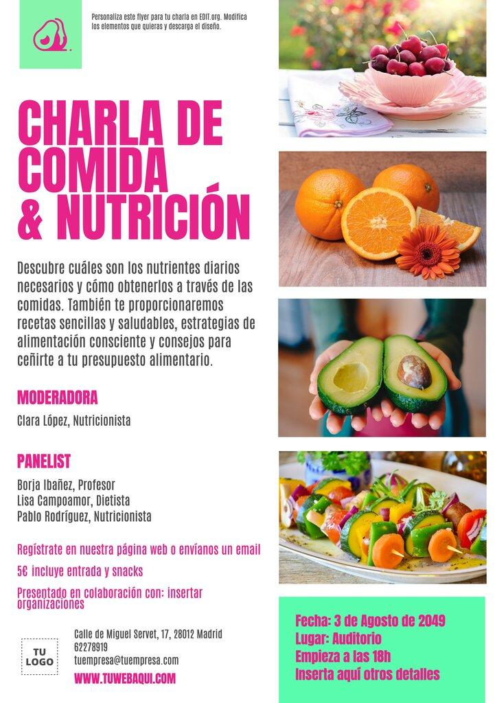 Diseño gratis de folleto de charla de nutrición personalizable