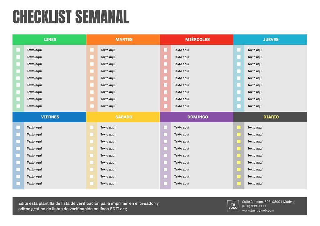 Plantilla editable online de checklist semanal para imprimir