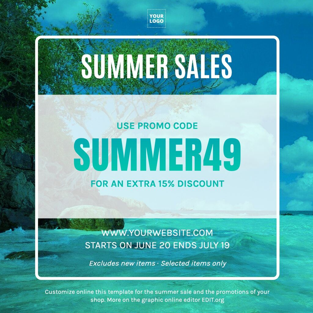 Summer sale template maker and editor online for your business