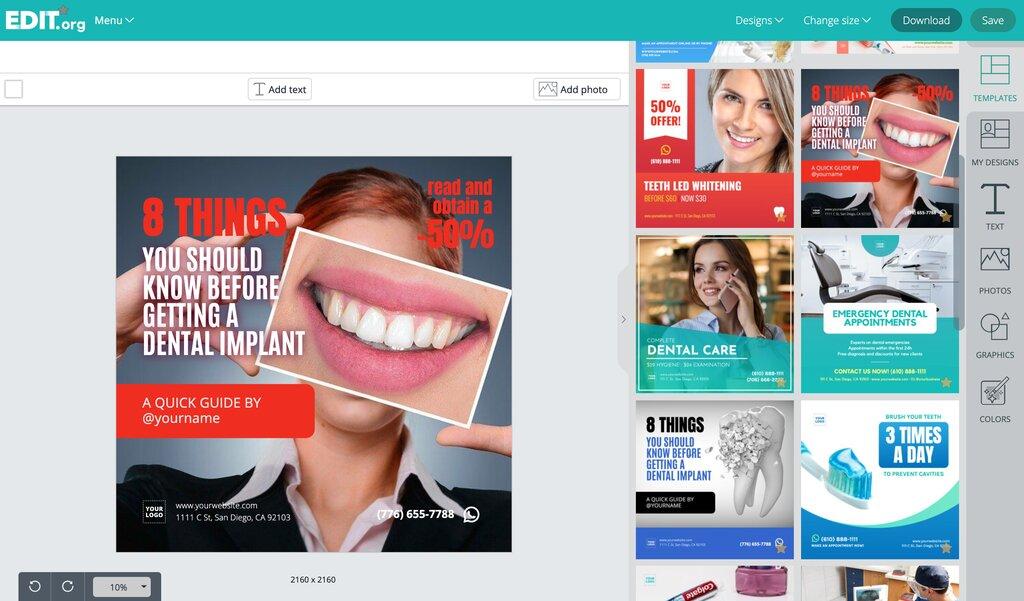 Graphic design templates to promote dental clinics
