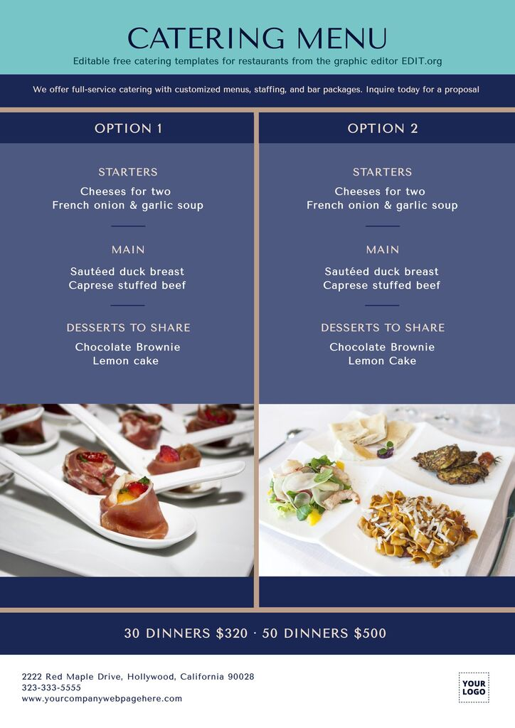 Editable catering brochure examples to print