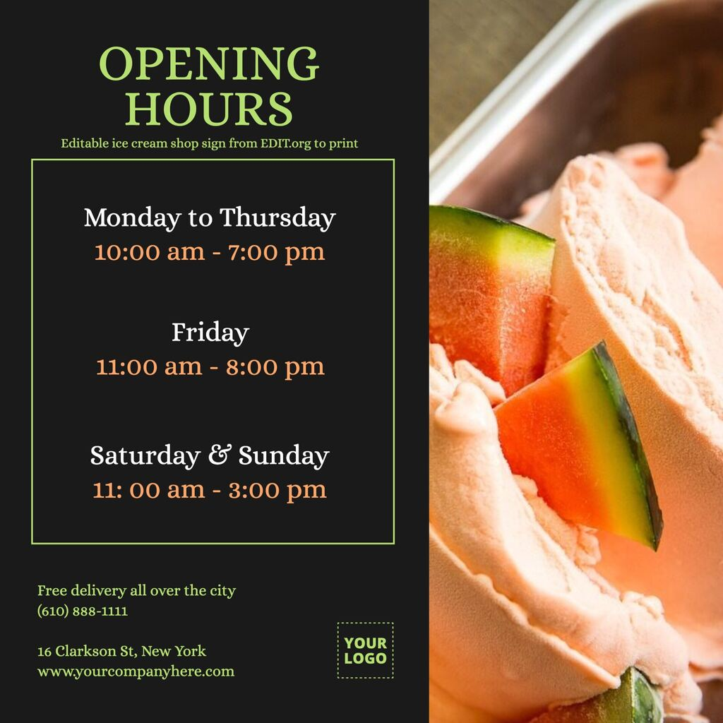 Ice cream printable template for shop opening hours