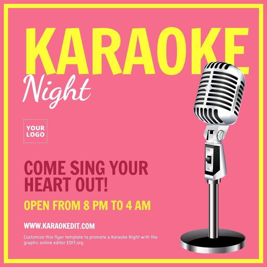 Plantilla para promocionar una noche de Karaoke