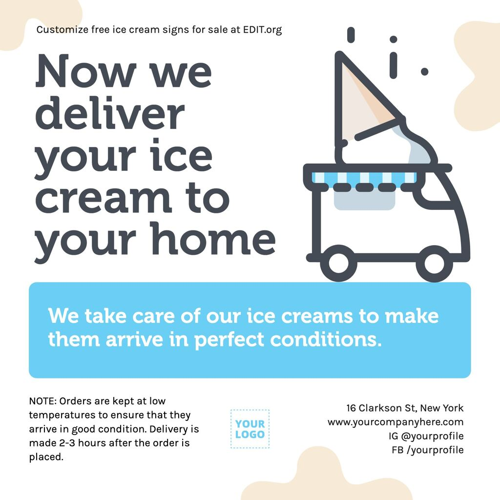 Ice cream truck poster to print