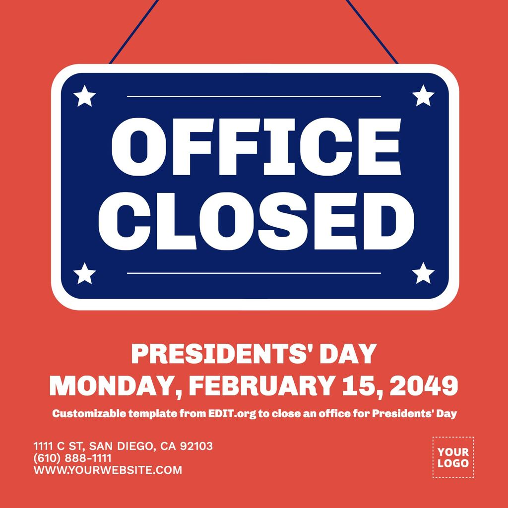 Opening hours template for President's Day to customize online