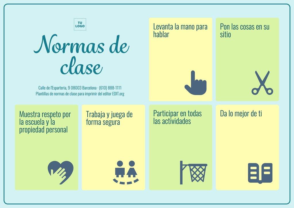 Cartel para normas en clase gratis y personalizable