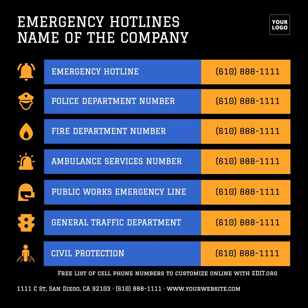 Emergency and homeowners list with phone numbers to print