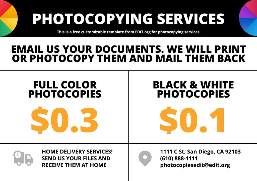 Editable signs for photocopying facilities to edit online