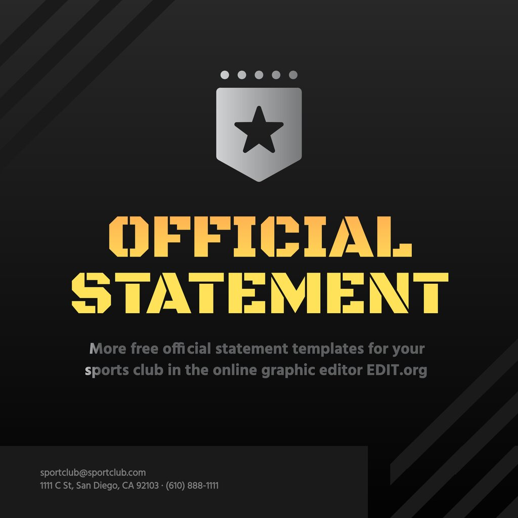 Official Statement template to edit online and post on instagram or twitter