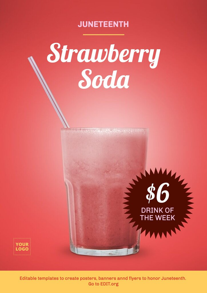 Strawberry soda flyer template do edit online for Juneteenth