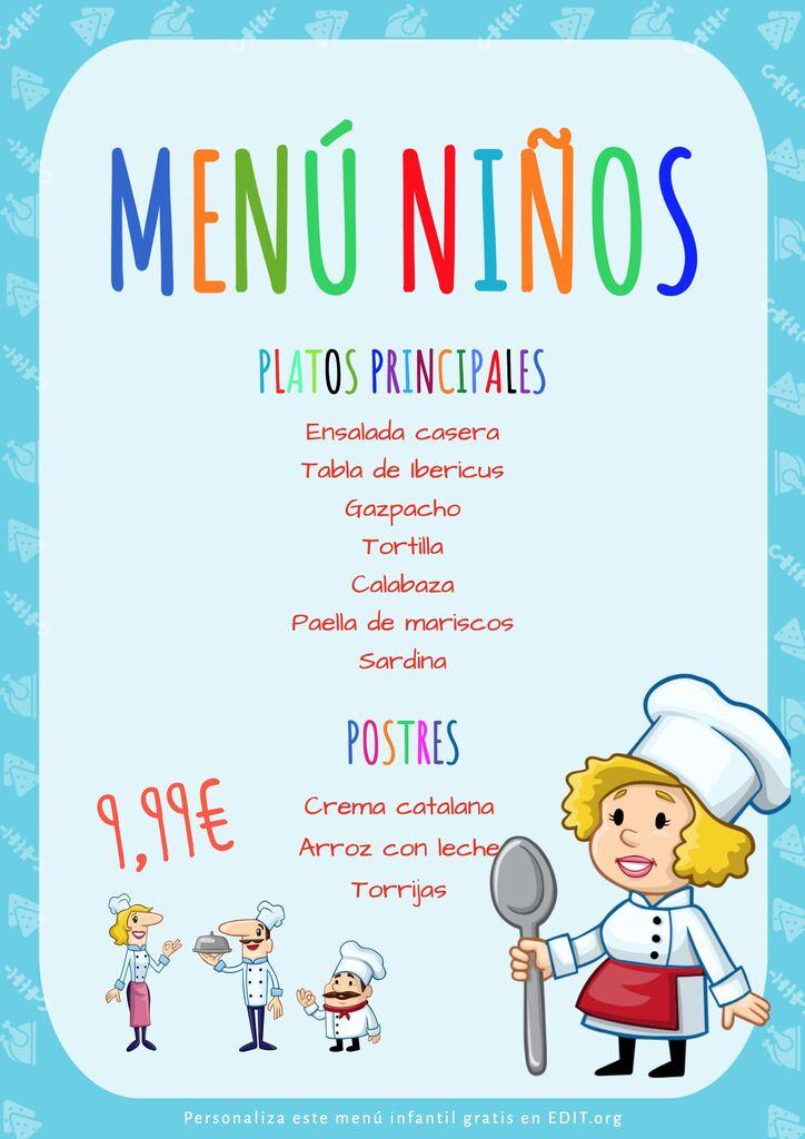 Plantilla editable de menú infantil para restaurante