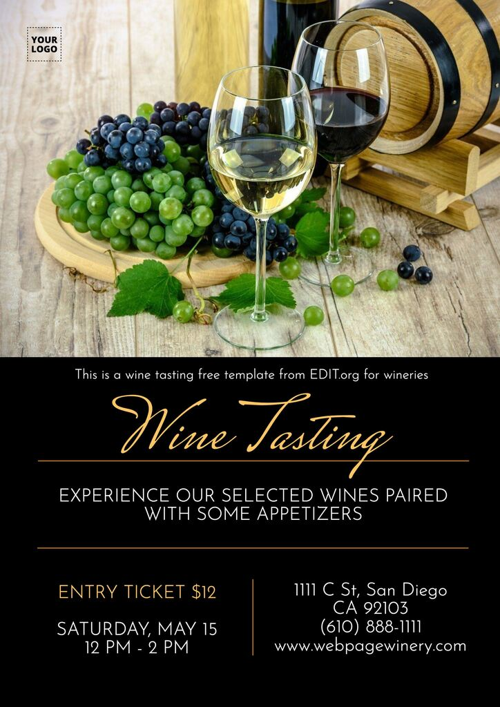 Wine tasting template free for wineries and liquor stores