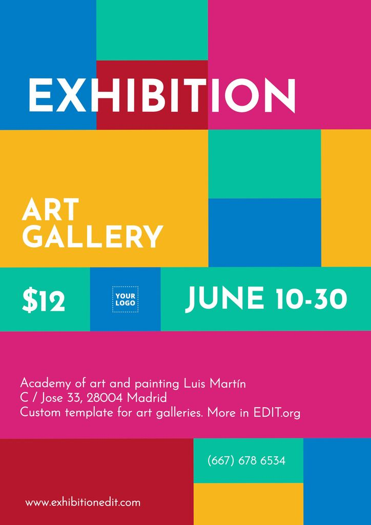 Online editable template for posters and flyers to promote an art exhibition