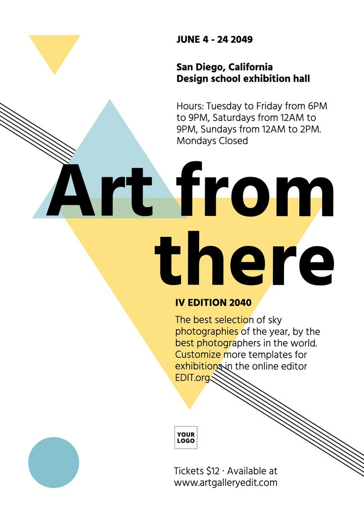 Art exhibition template to customize online for free