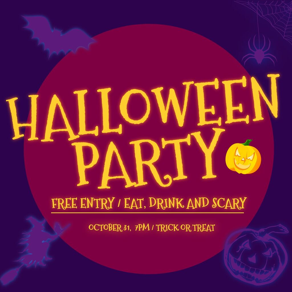 Halloween party invitation template with characters, ready to edit