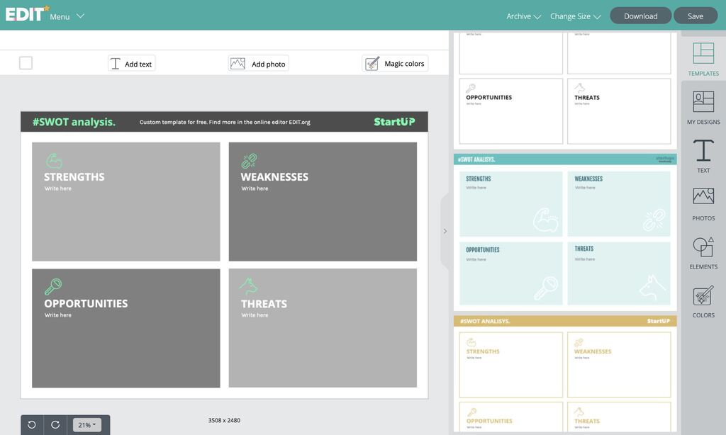 SWOT analysis template to customize online for free