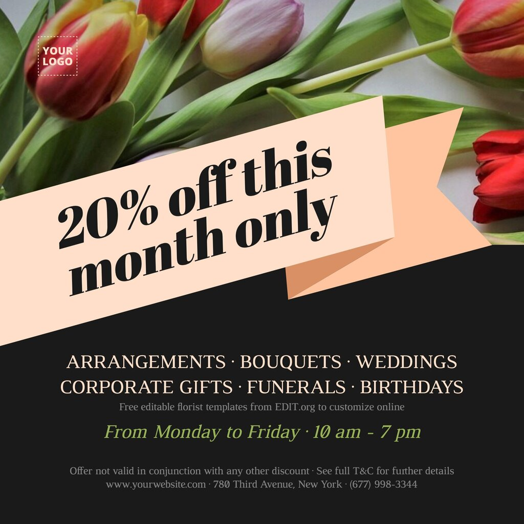 Personalised florist cards to customize online