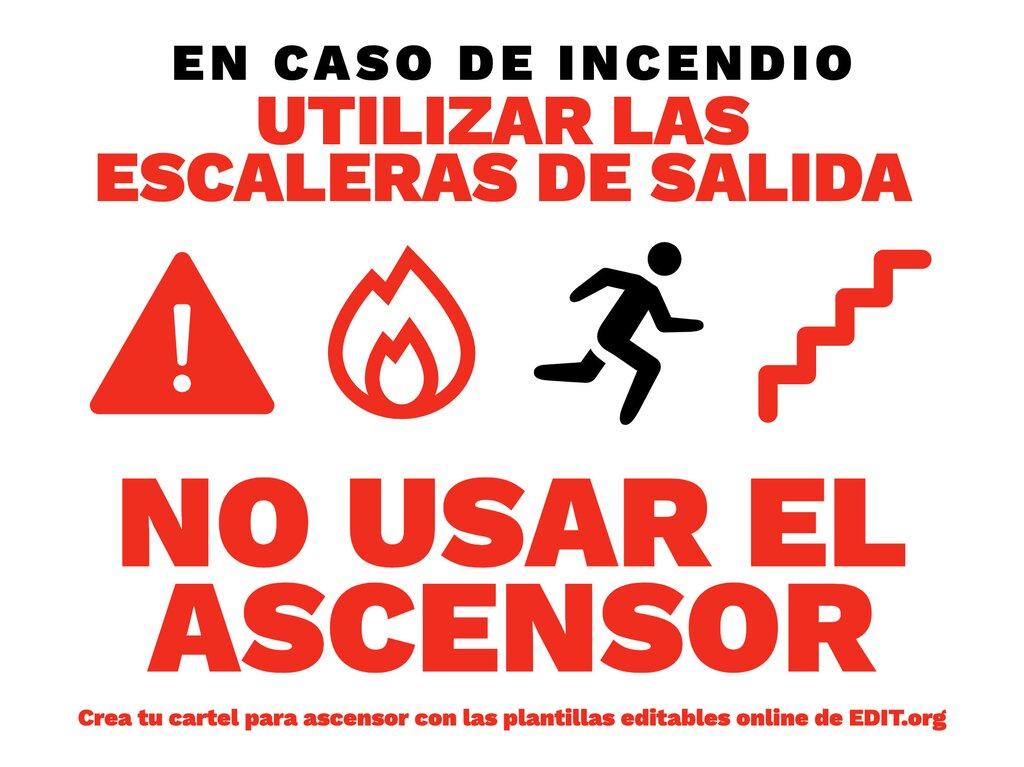 Cartel editable online para crear letreros imprimibles para señalización de ascensores y montacargas y uso de escaleras en caso de incendio