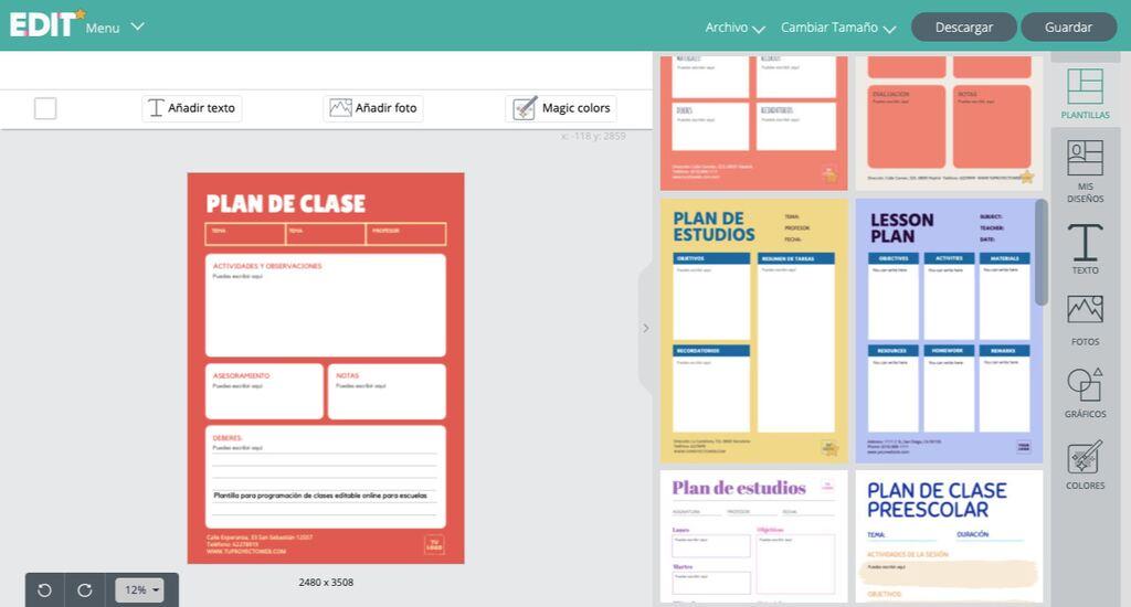 Planificador de clases personalizables online para profesores