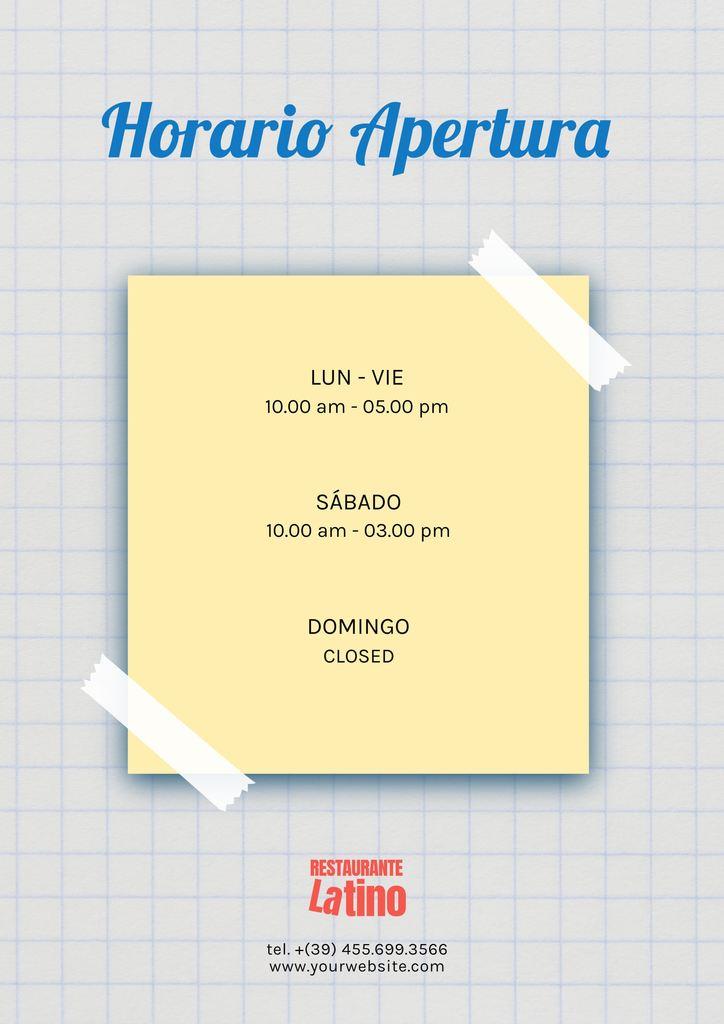 carteles de horarios de apertura