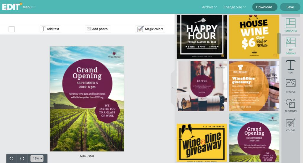 Wine flyer and poster templates for wine and liquor stores editable online
