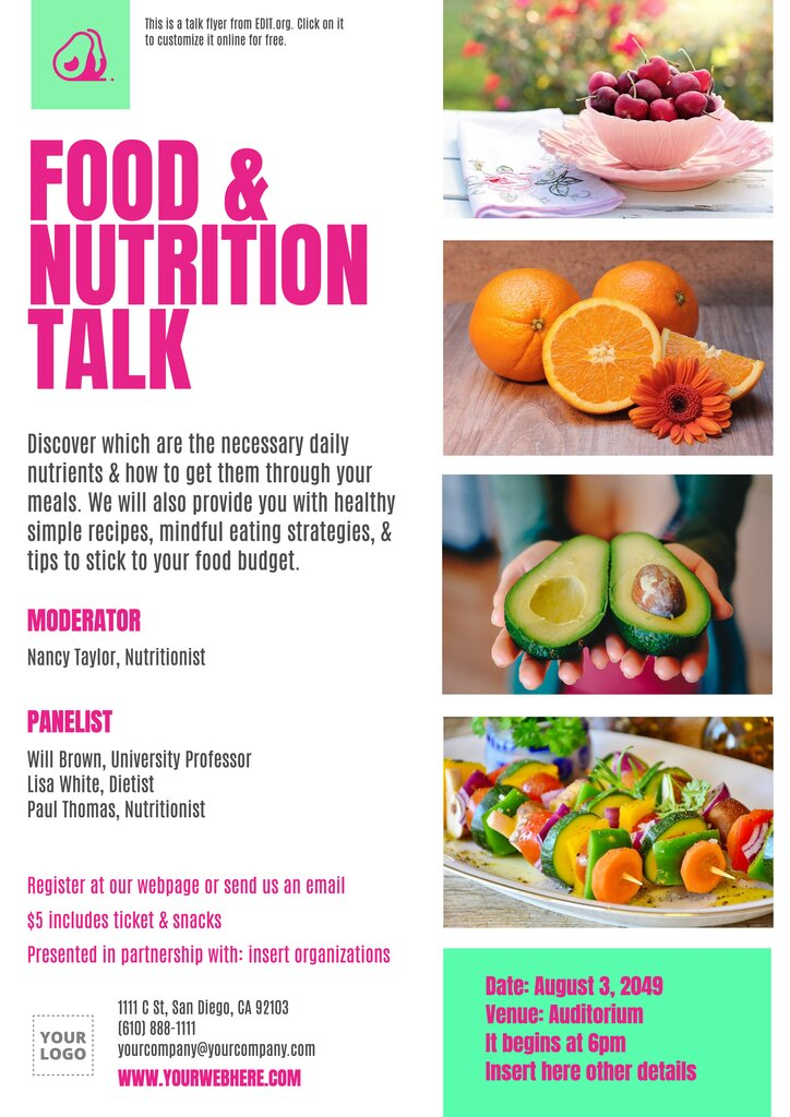 Nutrition and health talk invitation template to edit online