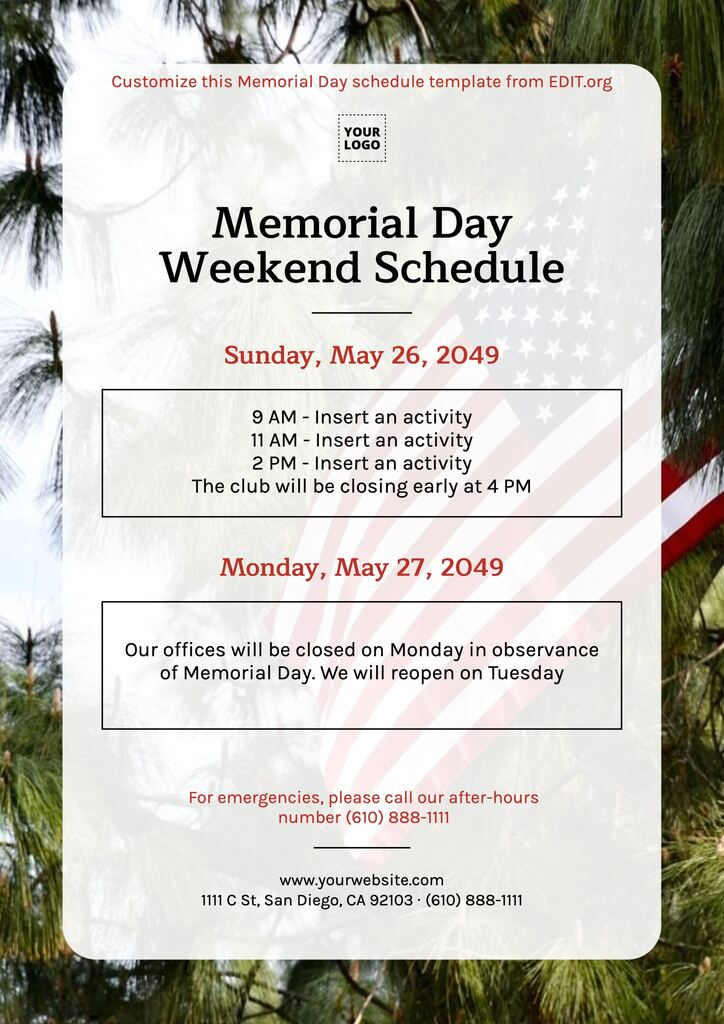 Customizable Memorial Day templates for stores to edit and print
