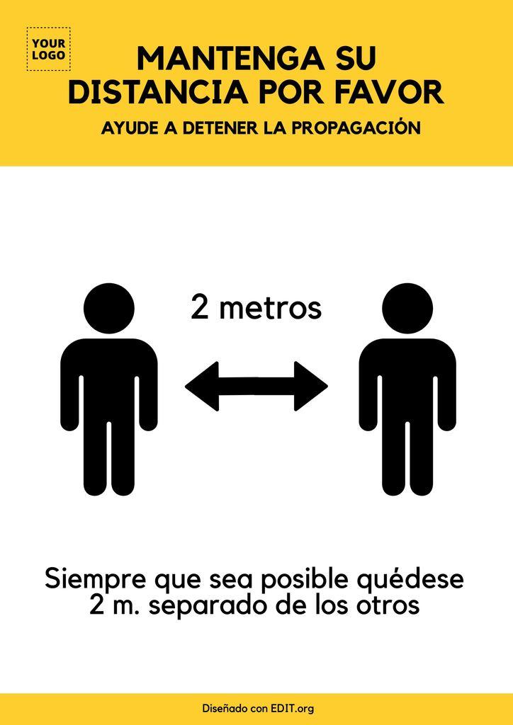 Plantilla gratis cartel de distancia social Coronavirus