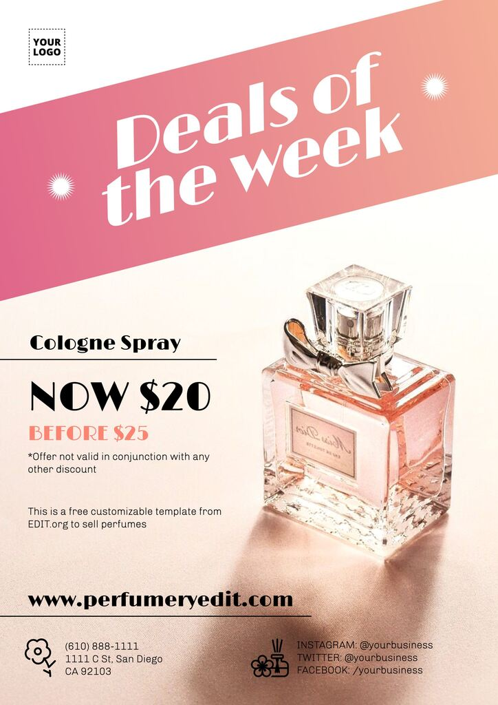 Editable templates for perfumery promotions and discounts
