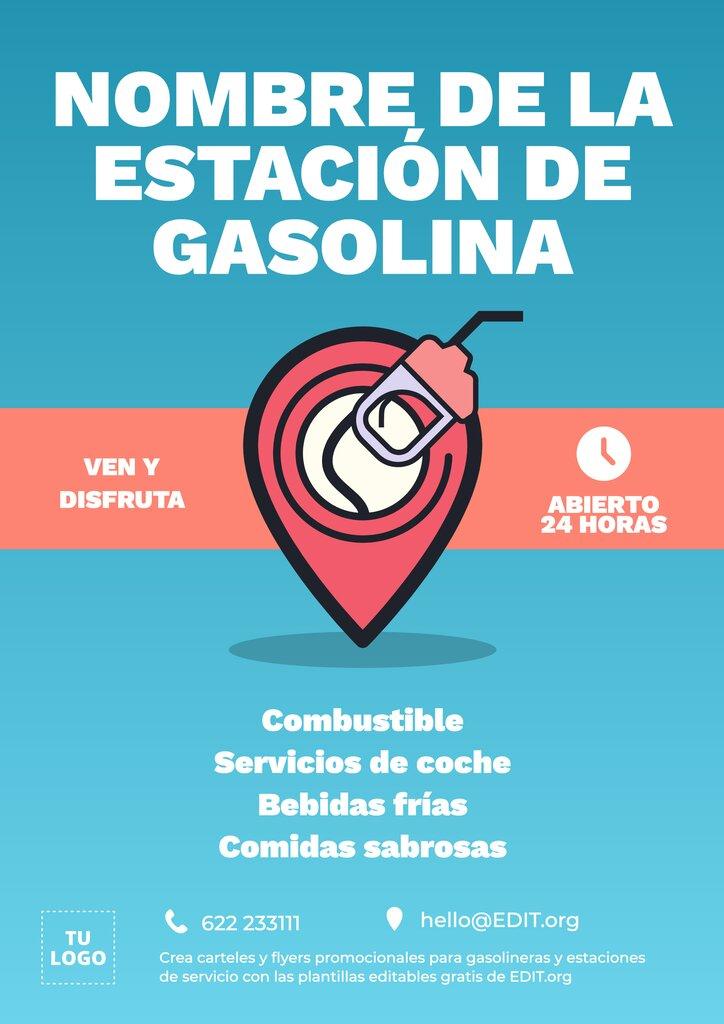 Diseño de plantilla editable online para promocionar estaciones de servicio y gasolineras con icono ubicación